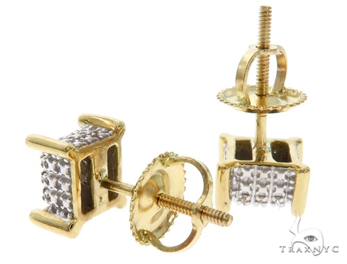 10K YG Micro Pave Diamond Dice Earrings 58562 Stone