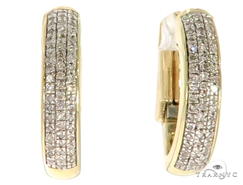 10K YG Micro Pave Diamond Hoop Earrings 58580 10k, 14k, 18k Gold Earrings
