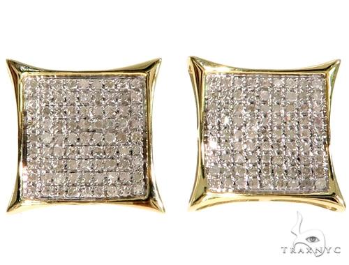 10K YG Micro-Pave Diamond Kite Shape Earrings Stone