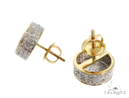 10K YG Micro Pave Diamond Round Earrings Stone