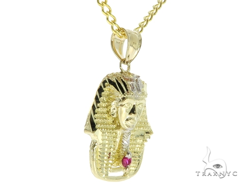 Small Pharaoh Pendant 20, 24 Inches Cuban Chain Set Metal