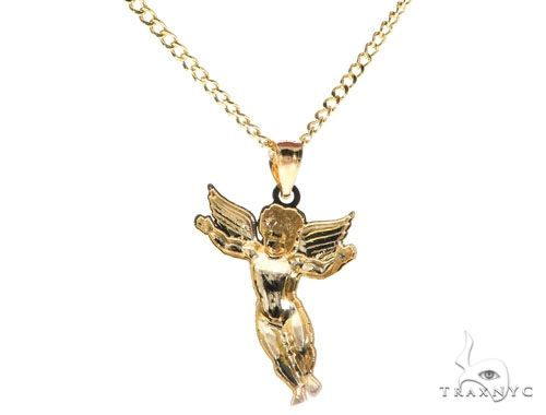 10K Yellow Gold Angel Charm 20 Inches Cuban Link Chain Set 61804 Style