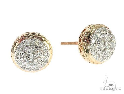 10K Yellow Gold Cluster Diamond Stud Earrings 65370 Stone