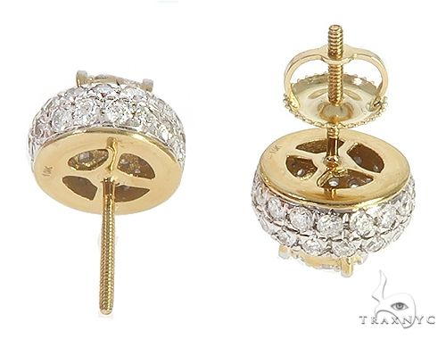 10K Yellow Gold Cluster Stud Diamond Earrings 65155 Stone