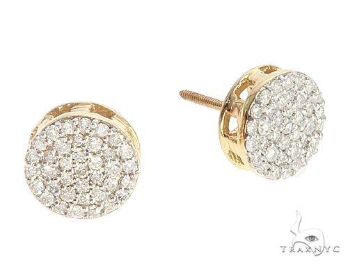 10K Yellow Gold Cluster Stud Earrings 65064 Stone