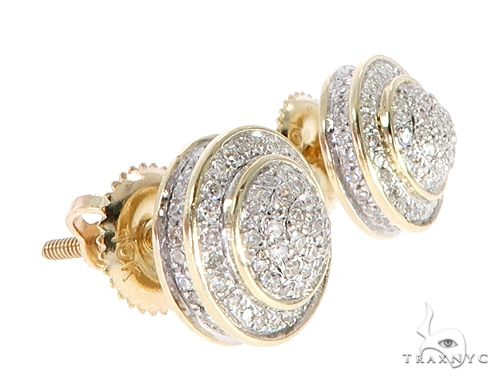 10K Yellow Gold Cluster Stud Earrings 65148 Stone