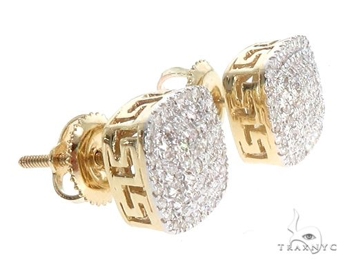 10K Yellow Gold Cushion Shape Diamond Stud Earrings 65146 Stone