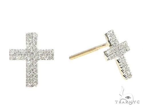 10K Yellow Gold Diamond Cross Earrings 65262 Stone