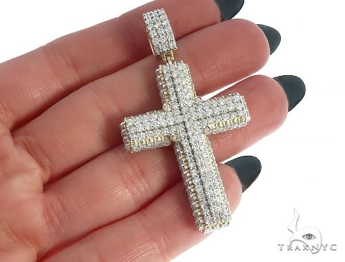 10K Yellow Gold Diamond Cross Pendant 65253 Diamond