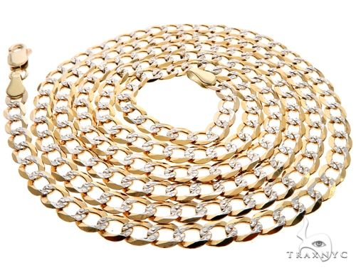 20 Inches Diamond Cut Cuban Curb Chain 22 Inches, 24 Inches, 26 Inches, 28 Inches, 30 Inches Gold