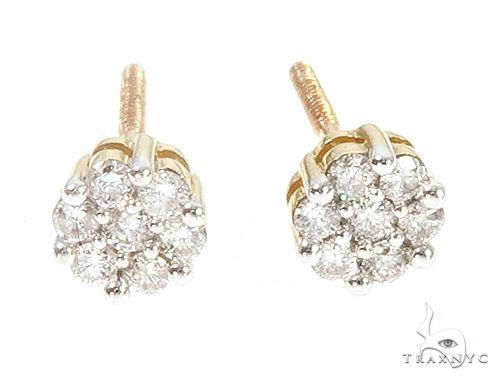 10K Yellow Gold Diamond Flower Earrings 65275 Stone