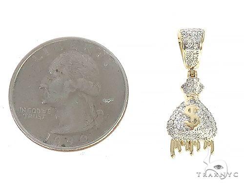 10K Yellow Gold Diamond Money Bag Pendant 65210 Stone