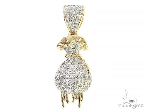 10K Yellow Gold Diamond Money Bag Pendant 65292 Stone