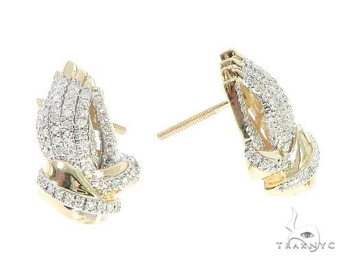 10K Yellow Gold Diamond Praying Hands Earrings 65261 Stone