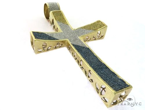 10K Yellow Gold Diamond Stud XL Cross Crucifix Pendant 63468 Metal
