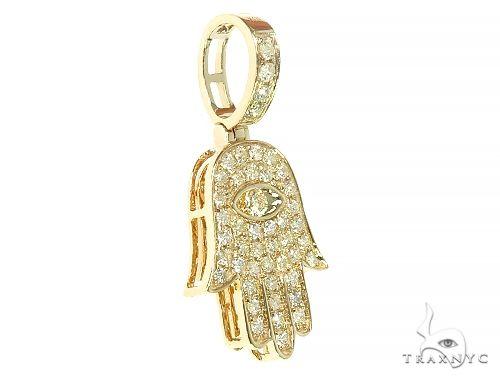 14K Yellow Gold Hamsa Diamond Pendant 66169 Stone