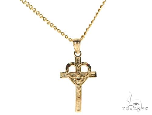 10K Yellow Gold Heart Crucifix Cross Charm 24 Inches Cuban Link Chain Set 61811 Style