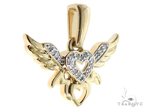 10K Yellow Gold Heart Wings Pendant 64759 Stone
