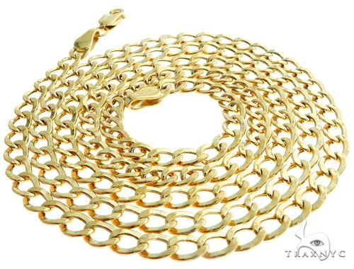 10K Yellow Gold Hollow Cuban Curb Link Chain 20 Inches 3.5mm 3.3 Grams 61599 Gold