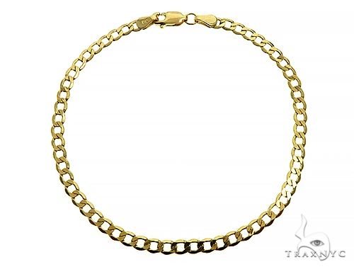 10K Yellow Gold Hollow Curb Link Bracelet 8 Inches 3.5mm 2.15 Grams 65983 Gold