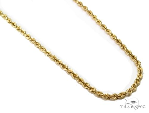 10K Yellow Gold Hollow Rope Link Chain 16 Inches 2mm 2.3 Grams 63425 Gold