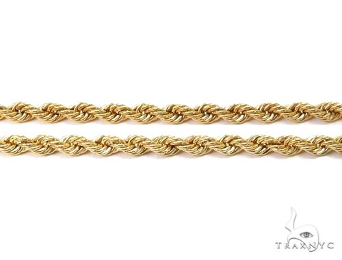 10K Yellow Gold Hollow Rope Link Chain 18 Inches 2.1mm 2.49 Grams 64436 Gold