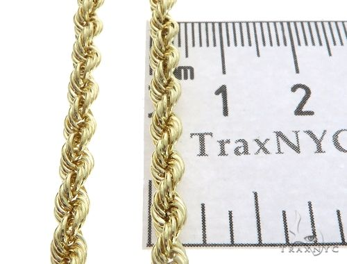 10K Yellow Gold Hollow Rope Link Chain 20 Inches 4mm 6.3 Grams 63393 Gold