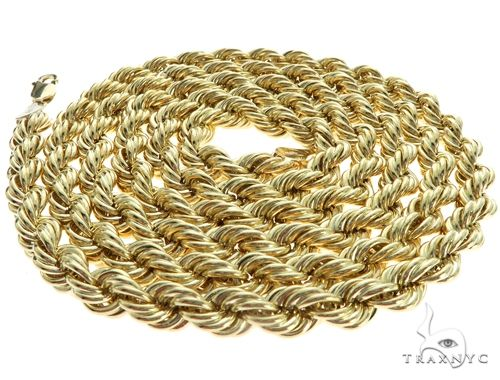 10K Yellow Gold Hollow Rope Link Chain 20 Inches 5.5mm 9.5 Grams 63380 Gold