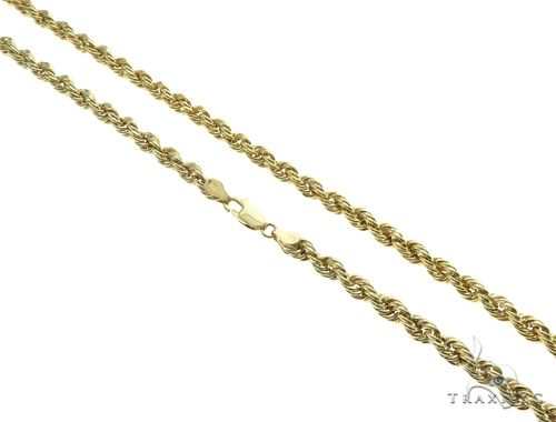 10K Yellow Gold Hollow Rope Link Chain 24 Inches 4mm 7.4 Grams 63391 Gold
