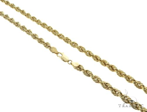 10K Yellow Gold Hollow Rope Link Chain 24 Inches 6.5mm 17.5 Grams 63372 Gold