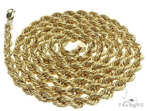 10K Yellow Gold Hollow Rope Link Chain 26 Inches 4mm 8.1 Grams 63390 Gold