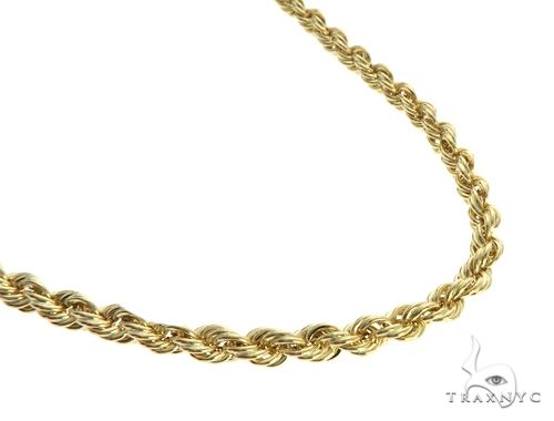 10K Yellow Gold Hollow Rope Link Chain 30 Inches 4mm 9.2 Grams 63388 Gold