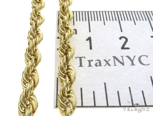 10K Yellow Gold Hollow Rope Link Chain 30 Inches 5mm 13.8 Grams 63382 Gold