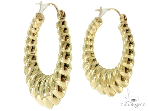 10K Yellow Gold Hoop Earrings 56982 Style