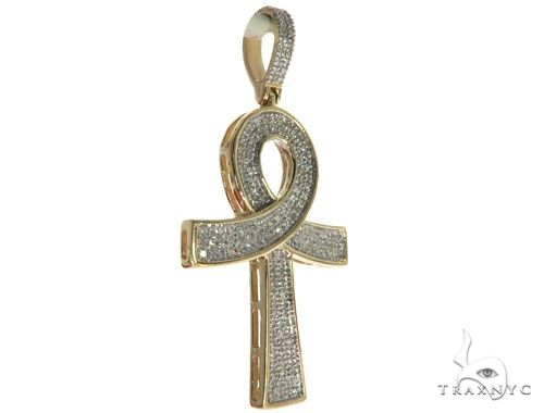 10K Yellow Gold Micro Pave Diamond Ankh Cross Crucifix 63628 Metal