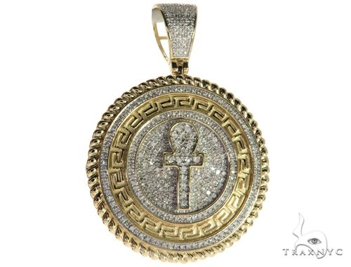 10K Yellow Gold Micro Pave Diamond Ankh Cross Crucifix Pendant 63295 Metal