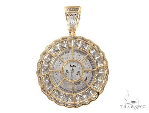 10K Yellow Gold Micro Pave Diamond Arabic Script Allah Charm Pendant 63636 Metal