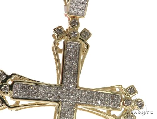 10K Yellow Gold Micro Pave Diamond Cross 61638 Diamond