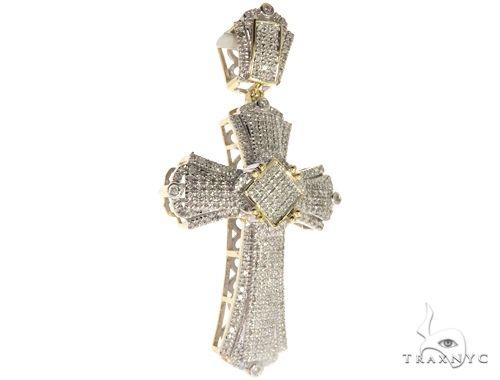 10K Yellow Gold Micro Pave Diamond Cross 63302 Diamond