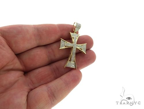 10K Yellow Gold Micro Pave Diamond Cross Crucifix 63626 Diamond