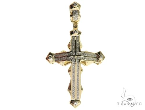10K Yellow Gold Micro Pave Diamond Cross Crucifix 63658 Diamond