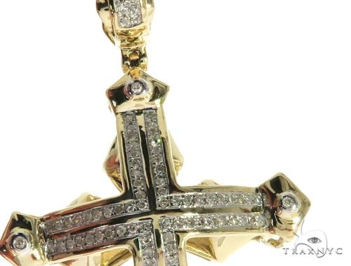 10K Yellow Gold Micro Pave Diamond Cross Crucifix 63658 Diamond