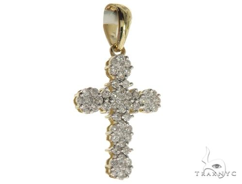 10K Yellow Gold Micro Pave Diamond Cross Crucifix Pendant 63654 Diamond Cross Pendants