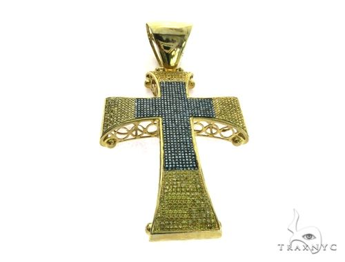 10K Yellow Gold Micro Pave Diamond Cross Crucifix Pendant. 63475 Metal