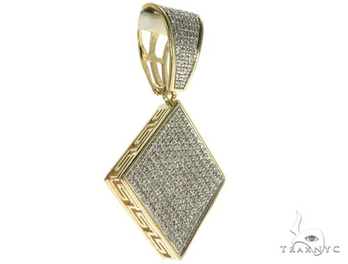 10K Yellow Gold Micro Pave Diamond Diamond-Shape Charm Pendant 63631 Stone
