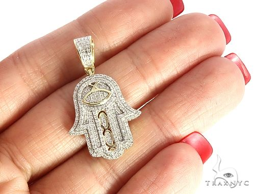 10K Yellow Gold Micro Pave Diamond Hamsa Hand Charm Pendant 63618 Metal