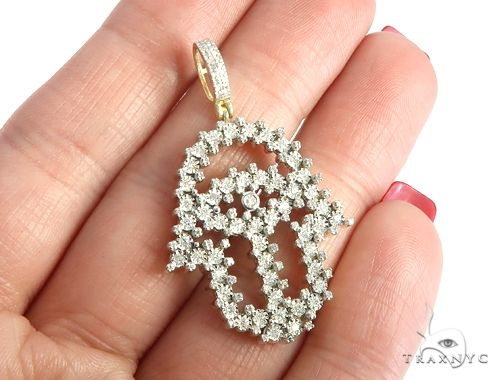 10K Yellow Gold Micro Pave Diamond Hamsa Hand Pendant 63625 Metal
