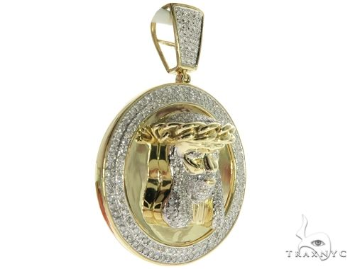 10K Yellow Gold Micro Pave Diamond Jesus Face Round Pendant 63613 Metal