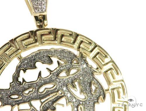 10K Yellow Gold Micro Pave Diamond Jesus Head Round Charm Pendant 63652 Metal