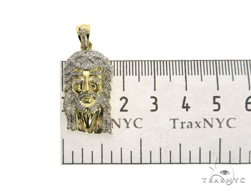 10K White Gold Micro Pave Diamond Jesus Pendant 63541 Metal